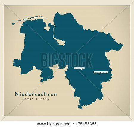 Modern Map - Niedersachsen De New Design Refreshed Illustration