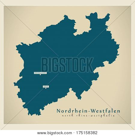 Modern Map - Nordrhein-westfalen De New Design Refreshed Illustration