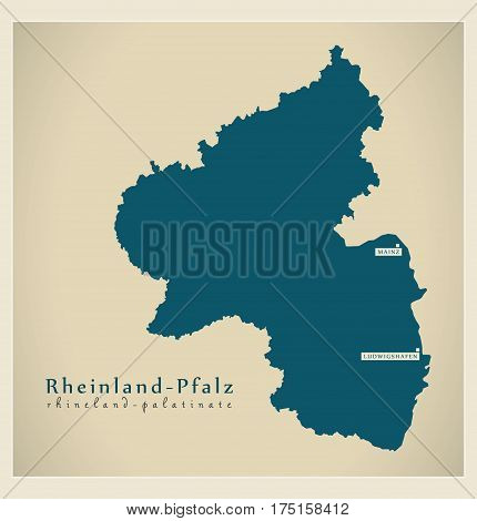 Modern Map - Rheinland-pfalz De New Design Refreshed Illustration