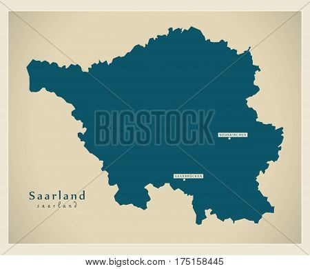 Modern Map - Saarland De New Design Refreshed Illustration