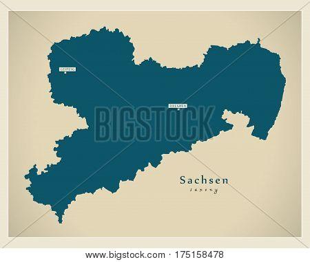 Modern Map - Sachsen De New Design Refreshed Illustration
