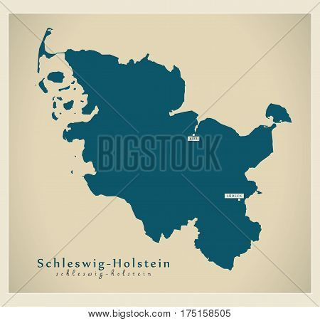 Modern Map - Schleswig-holstein De New Design Refreshed Illustration