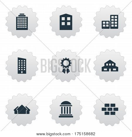 Vector Illustration Set Of Simple Structure Icons. Elements Shelter, Reward, Construction And Other Synonyms Premises, Medal And Rooms.