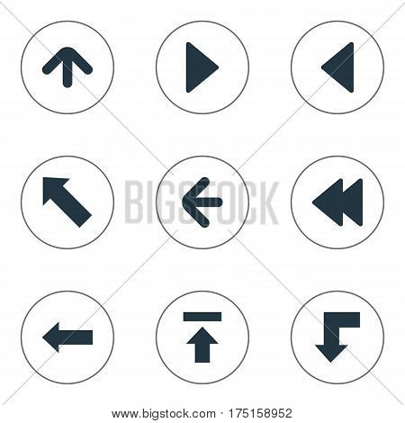 Vector Illustration Set Of Simple Indicator Icons. Elements Left Landmark , Upward Direction , Rearward Synonyms Transfer, Backward And Decline.