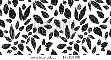 Leaves seamless white and black background. Vector illustration.