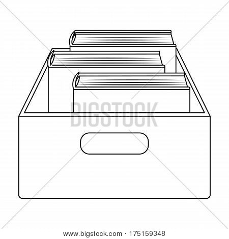 Books in box icon in outline design isolated on white background. Library and bookstore symbol stock vector illustration.