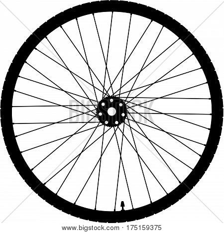 Bike wheel isolated on white, vector illustration