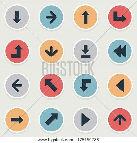 Vector Illustration Set Of Simple Cursor Icons. Elements Downwards Pointing, Left Landmark , Upward Direction Synonyms Left, Backward And Download.