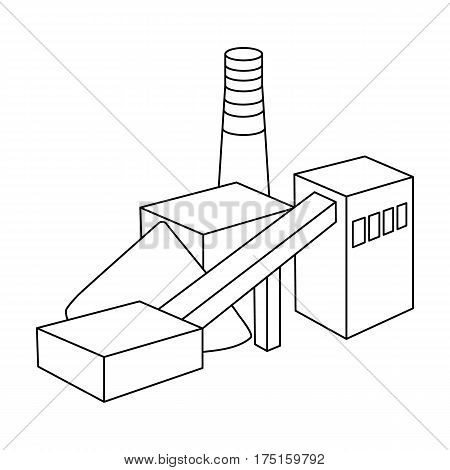 The plant with the pipe.Factory on processing of minerals from the mine.Mine Industry single icon in outline style vector symbol stock web illustration.
