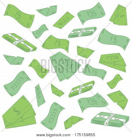 Hand Drawn Green Banknotes. Doodle Money Rain. Flat Drawings of Cash. Vector Illustration.