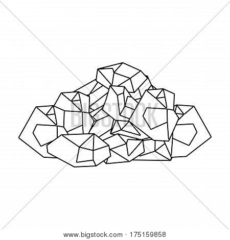Black minerals from the mine.Coal, which is mined in the mine.Mine Industry single icon in outline style vector symbol stock web illustration.