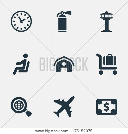 Vector Illustration Set Of Simple Transportation Icons. Elements Flight Control Tower, Currency, Plane And Other Synonyms Clock, Fire And Watch.