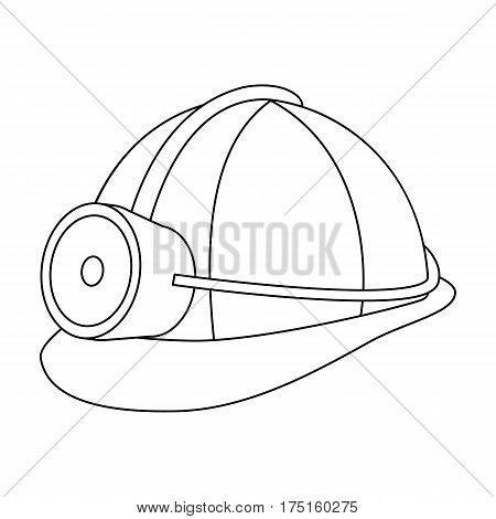 The helmet of a miner with a flashlight.Gear digger for protection from stones.Mine Industry single icon in outline style vector symbol stock web illustration.