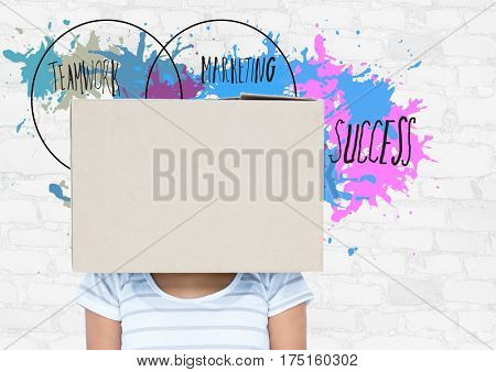 Digital composition of woman with box on her head and business terms in background