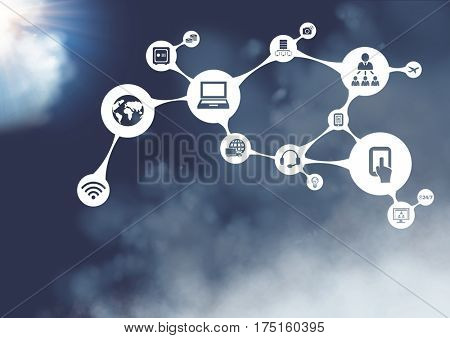 Close-up of connecting icons against cloudy sky background