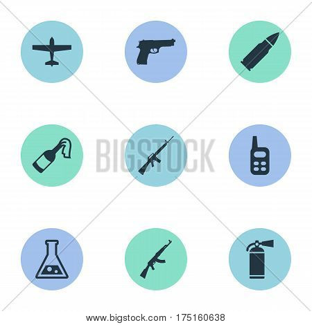 Vector Illustration Set Of Simple Terror Icons. Elements Chemistry, Ammunition, Walkies And Other Synonyms Bomber, Gun And Arm.