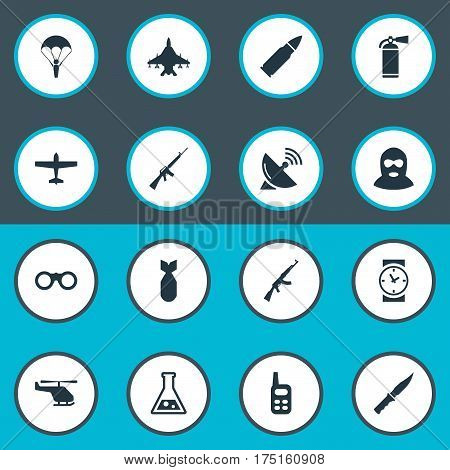 Vector Illustration Set Of Simple Army Icons. Elements Helicopter, Nuke, Field Glasses And Other Synonyms Walkies, Chemistry And Receiver.