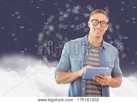 Portrait of man using digital tablet against digitally generated background