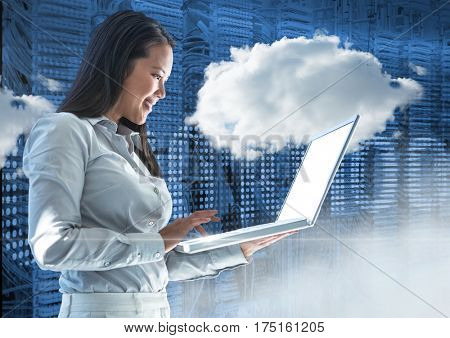 Smiling businesswoman using laptop against web binary code background