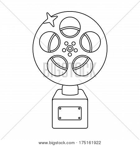 The Golden reel of film.Award for the best playback of the movie.Movie awards single icon in outline style vector symbol stock web illustration.