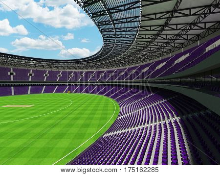 3D Render Of A Round Cricket Stadium With Purple  Seats And Vip Boxes