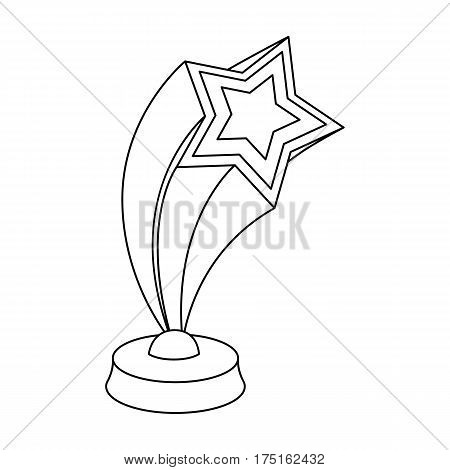 Cup in the shape of silver stars flying upward. Award for best performance of secondary roles.Movie awards single icon in outline style vector symbol stock web illustration.
