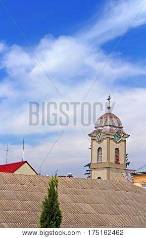 View of tower with clock of Saint Anna's roman catholic church (1802), Khust. Ukraine