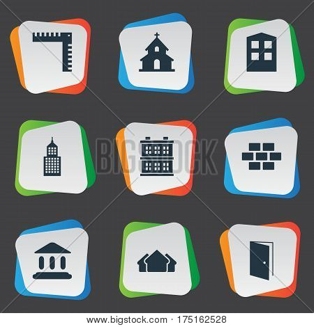 Vector Illustration Set Of Simple Architecture Icons. Elements Construction, Stone, Structure And Other Synonyms Church, Shack And Religious.