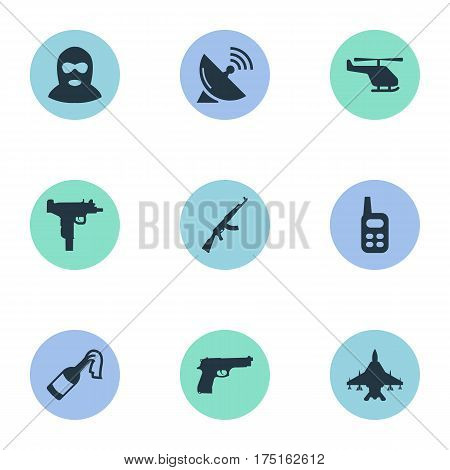 Vector Illustration Set Of Simple War Icons. Elements Pistol, Helicopter, Walkies And Other Synonyms Ak47, Copter And Communication. poster
