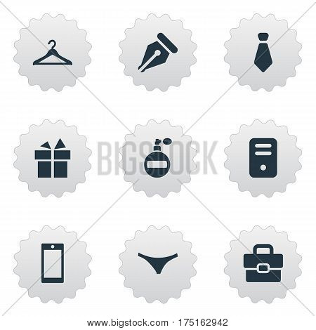 Vector Illustration Set Of Simple  Icons. Elements Mobile Phone, Present, Ink Pencil And Other Synonyms Handbag, Bag And Ink.