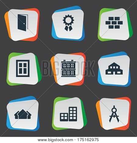 Vector Illustration Set Of Simple Structure Icons. Elements Residential, Block, Gate And Other Synonyms House, Cottage And Direction.