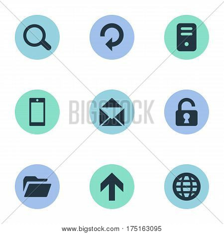 Vector Illustration Set Of Simple Practice Icons. Elements Magnifier, Web, Upward Direction And Other Synonyms Dossier, Refresh And Padlock.
