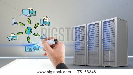 Digital generated image businessman hand writing with marker on futuristic interface in server room