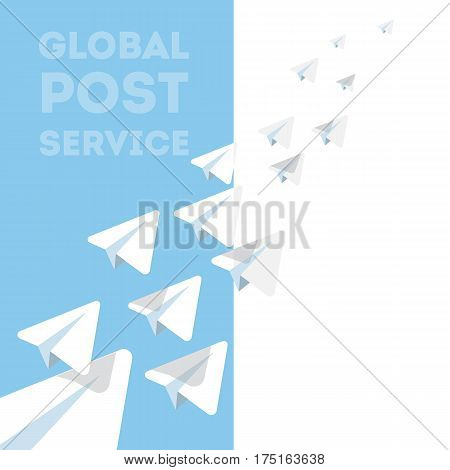 Concept illustration of paper airplanes as a symbol of postal service. Vector composition.