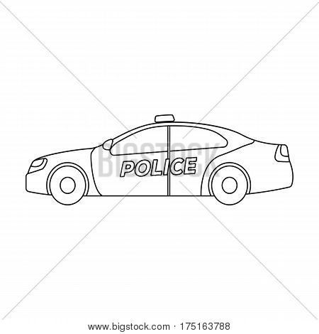 Police car icon in outline design isolated on white background. Police symbol stock vector illustration.