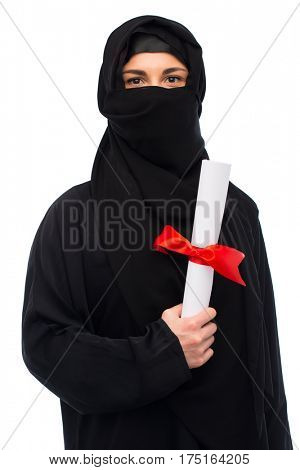 education, graduation and people concept - muslim woman in hijab with diploma over white background