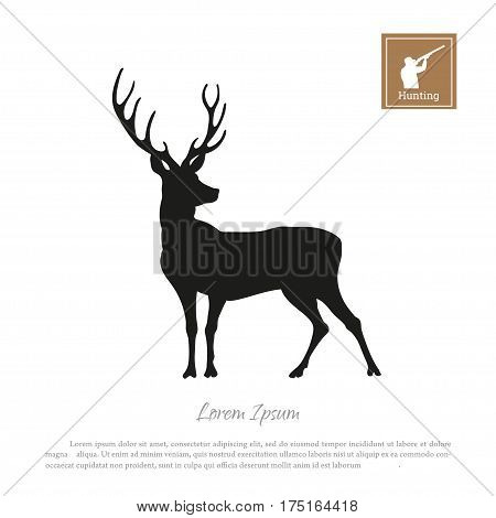 Black silhouette of a deer on a white background. Icon hunter with a gun. Vector illustration
