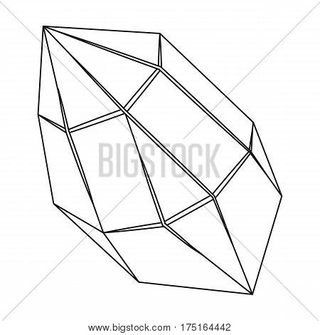 Rough gemstone icon in outline design isolated on white background. Precious minerals and jeweler symbol stock vector illustration.