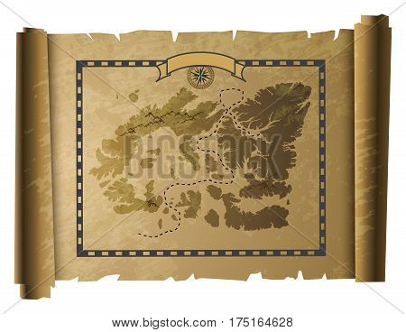 Old pirate treasure paper map, vector illustration
