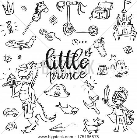 Little Prince Funny Graphic Set. Boy In Armor And Cloak, Sword, Dragon, Scooter, The Pirate Chest, C