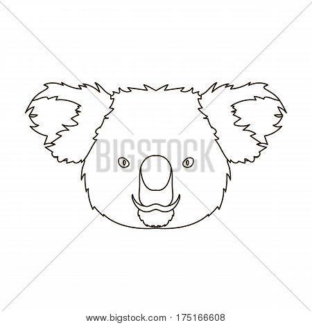 Koala icon in outline design isolated on white background. Realistic animals symbol stock vector illustration.