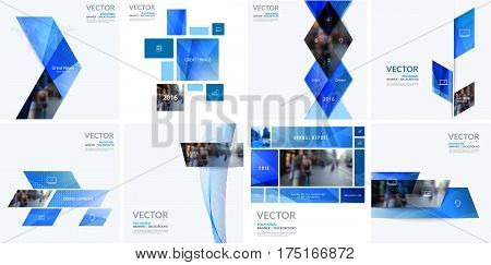 Business vector design elements for graphic layout. Modern abstract background template with many blue geometric shapes, banners for PR, business, tech in clean minimal style. Mega set
