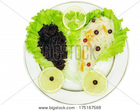 vegetable beetroot salad with lemon slices and cabbage