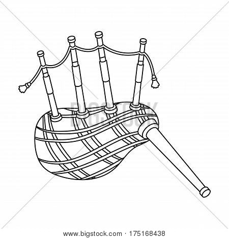 Scottish bagpipes icon in outline design isolated on white background. Scotland country symbol stock vector illustration.