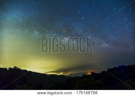 Milky Way And The Starry Sky Captured From A Full Frame Camera Long Exposure Photograph At 3200 Iso