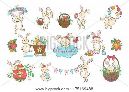 Set of cute Easter bunnies with eggs isolated on white background. Design elements for Easter card, invitation, flyer or banner. Bunny, rabbit icon. Vector illustration.