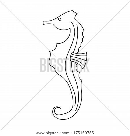 Seahorse icon in outline design isolated on white background. Sea animals symbol stock vector illustration.