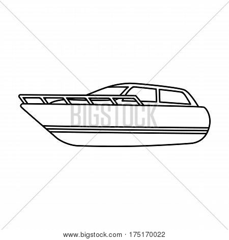 White motor boat to transport a few people.One of the types of water transport.Ship and water transport single icon in outline style vector symbol stock web illustration.