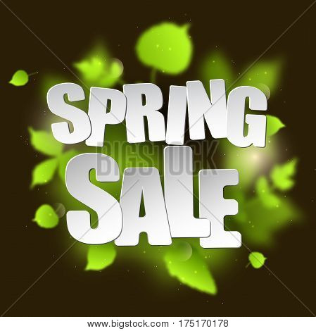 Spring sale placard template for card, placard, flyer, banner, brochure. Green blurred leafs on dark background.