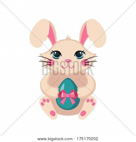 Cute Easter bunny holding colorful Easter egg in flat style isolated on white background. Rabbit animal icon for card, invitation or banner. Vector illustration.